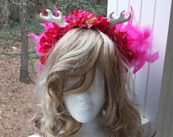 Adult / Child Fairy Flower Crown Fascinator Headband - Pearl Horns, Rose Pink Flowers, Hot Pink Feathers, Cosplay, Costume, Faire, Wedding
