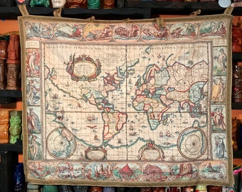 World map quilt etsy world map french medieval style quilted embroidery sewn english design print tapestry vintage france globe quilt gumiabroncs Image collections