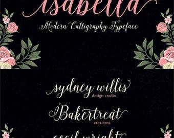 Isabella Script, Modern Calligraphy Font, Handwritten Font, Script Font, Contemporary Calligraphy Font, Clean Font, Digital Font Download