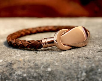 Rose Gold Bracelet Love Knot Bracelet Leather Bangle Brown Leather Bracelet Jewelry Gift Under 40 For Her For Him Pink Gold Braided Leather