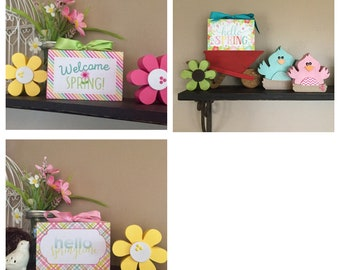 Hello Spring, Hello Springtime, Welcome Spring 4x6 Wood Blocks - Spring Decor