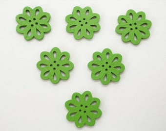 SET of 6 wood buttons: flower Lacy Green 20mm