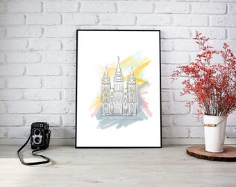 Modern & Abstract Salt Lake City Temple (Customizable with your name)