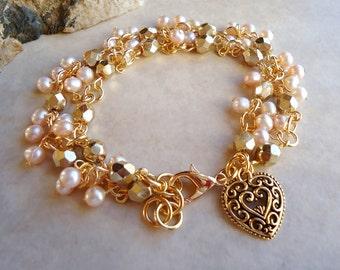 Champagne Freshwater Pearl Cluster Heart Charm Bracelet.Wedding.Chain plate in 24k Gold.Beadwork.Bridal.Valentine.Birthday.Gift.Handmade.