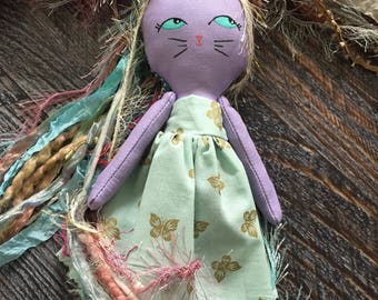 Unikitty, handmade doll, unicorn doll, cat doll, cloth doll, heirloom doll, grump cat, kitty doll, rag doll, collectable doll