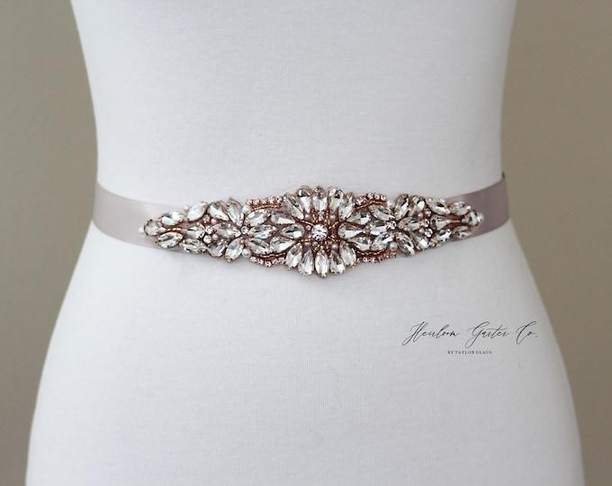 Rose Gold Bridal Belt, Bridal Sash, Beaded Bridal Sash, Wedding Belt, Wedding Sash Rhinestone Sash B62RG