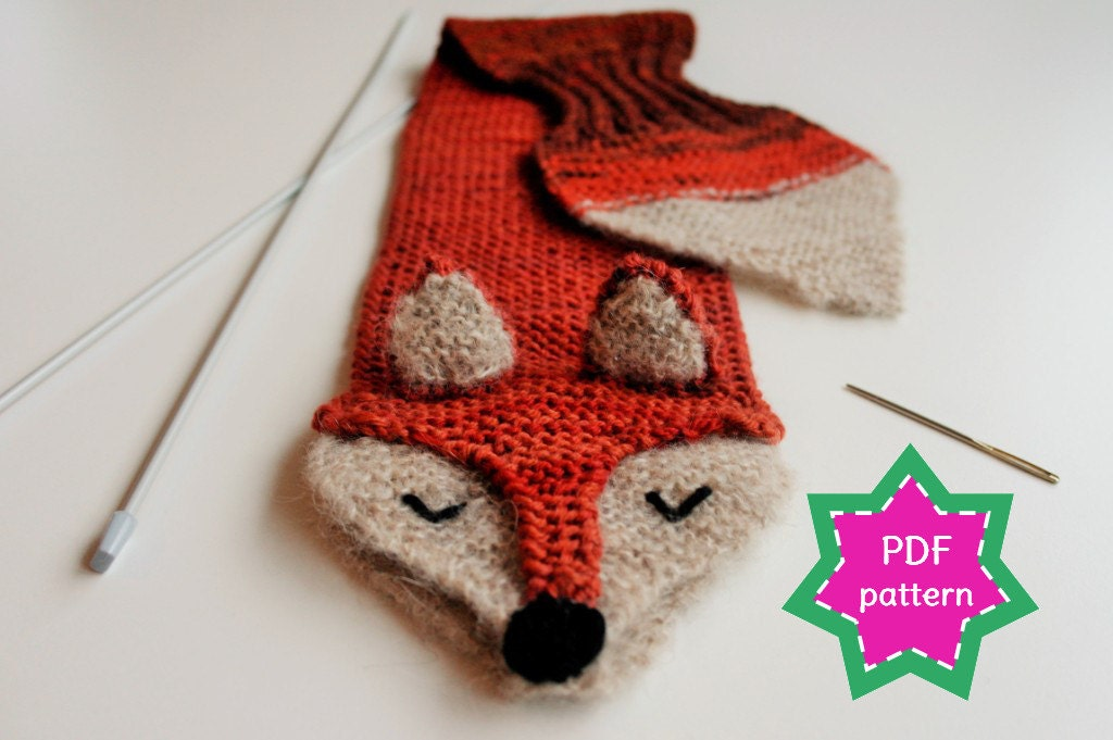 KNITTING PATTERN fox keyhole scarf - PDF pattern for kid\'s winter ...