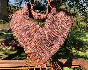 Hand-Crocheted Tunisian Stitch Cowl with Wooden Buttons