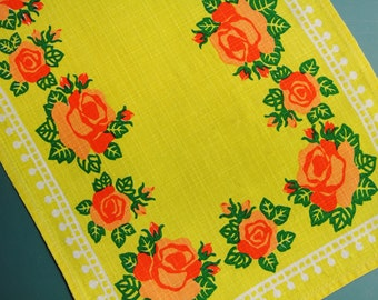 Swedish retro vintage 1950s printed cotton design tabelcloth runner with orange/ green rose flower motive on strong yellow bottomcolor