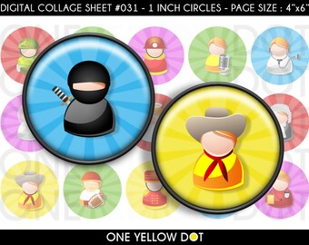 INSTANT DOWNLOAD - 1 Inch Circles Digital Collage Sheet - Occupation Characters Icons - Bottle Caps Scrapbooking Pendant Magnets Tags - 031