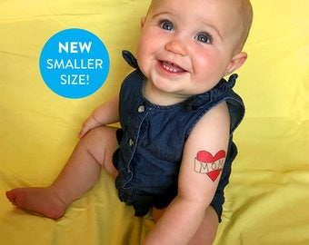 mothers day temporary tattoo funny gift for mom SMALLER SIZE fake tattoo red heart tattoo for babies photoshoot prop kids mothers day photos