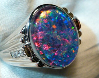 Mens Opal Ring Sterling Silver, Natural Opal Triplet. 16x12mm Oval . item 060542
