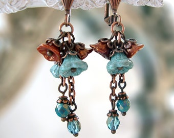 Teal and Copper Flower Dangle Earrings - Vintage Style Turquoise Blue Artistic Jewelry - Victorian Flower Chain Earrings - Antique Copper