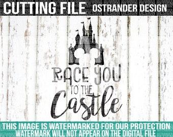 Race You To The Castle - SVG Cut File - Cricut - Silhouette - Cameo - Cut Files - Printable Cut Files - Disney Humor - Disney - 048