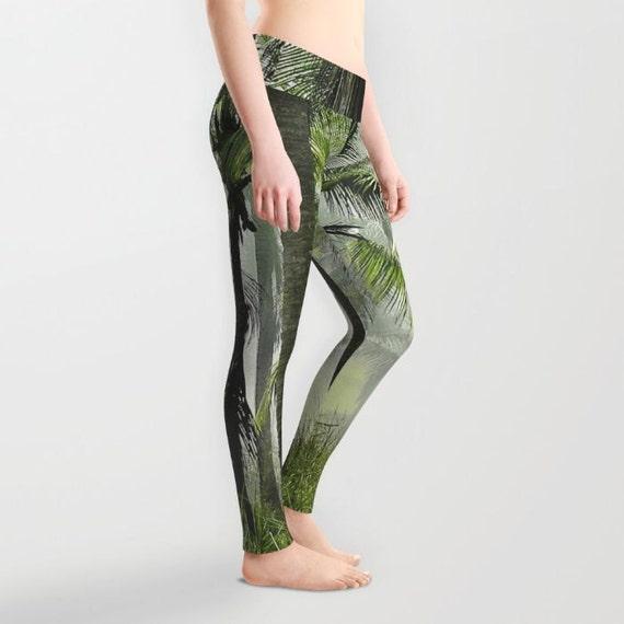 Palm Trees Leggings, Tropical Yoga Pants, Palm Tree Yoga Leggings, Women, Teen Active Wear, Running Pants, Jogging, Surf, Green Leggings