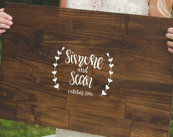 Handpainted Wedding Guest Book Wood Sign,Rustic Sign,Rustic Decor