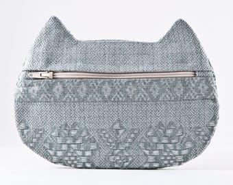 Tribal Cosmetic Bag, Cat Bag, Gift Under 20, Cat Pencil Case, back to school, zipper travel pouch, Blue Makeup Bag, Cat Travel Bag