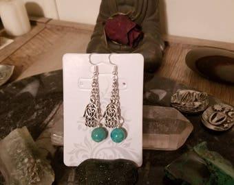 Silver Hamsa Hand Amazonite earrings