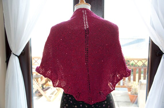 Handknitted Sequinned Shawl/Shawlette in Shades Red
