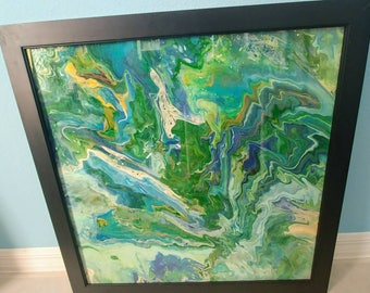 Worthy 24 x24 original wood panel framed with glass
