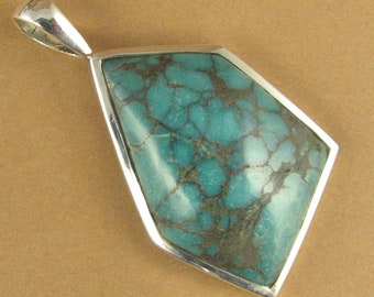 Turquoise stone pendant. Large. Asymmetric. Blue. Sterling silver 925.