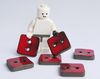Small ceramic buttons, Handmade square buttons, six red buttons, Sewing buttons.