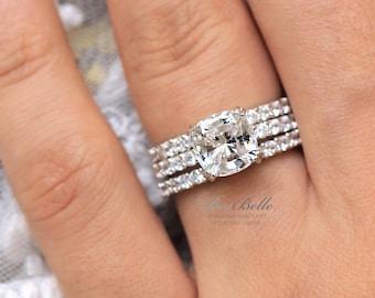3.96 ct.tw Bridal Set Ring-Cushion Cut Diamond Simulants-Engagement Ring-Eternity Band Ring-Wedding Band Ring-Sterling Silver [9113-3]