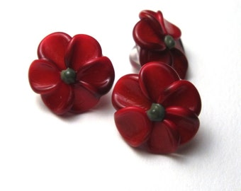 Lampwork Glass Beads, RED PLUMERIA, handmade sra jewelry supplies, red flower buttons