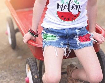 Rise & Rind Shorts- watermelon- summer-shorts- distressed denim- baby-kids