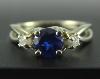 Sapphire Ring with Diamonds - 14K White Gold Engagement Ring - Wedding Ring - Infinity Ring