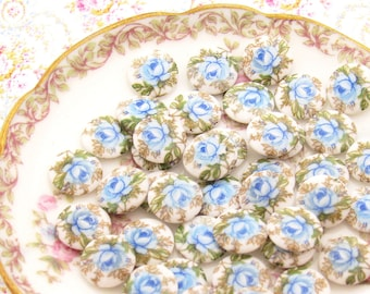 Vintage Blue Rose Limoge Cabochon, 10mm Round Flower Cameo Vintage Japanese Glass Stones - 6