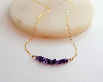 Amethyst Birthstone Necklace • Girlfriend Gift for Her • Dainty Layering Necklace • Genuine February Gemstone • Gold Silver Rose