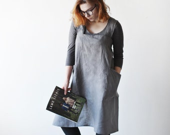 Dark Grey Linen Apron / Japanese apron /  Kitchen Apron / No-Ties Apron /
