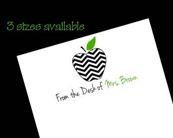 Personalized Teacher Chevron Apple Notepad ~ Teacher Gift ~ 3 Sizes