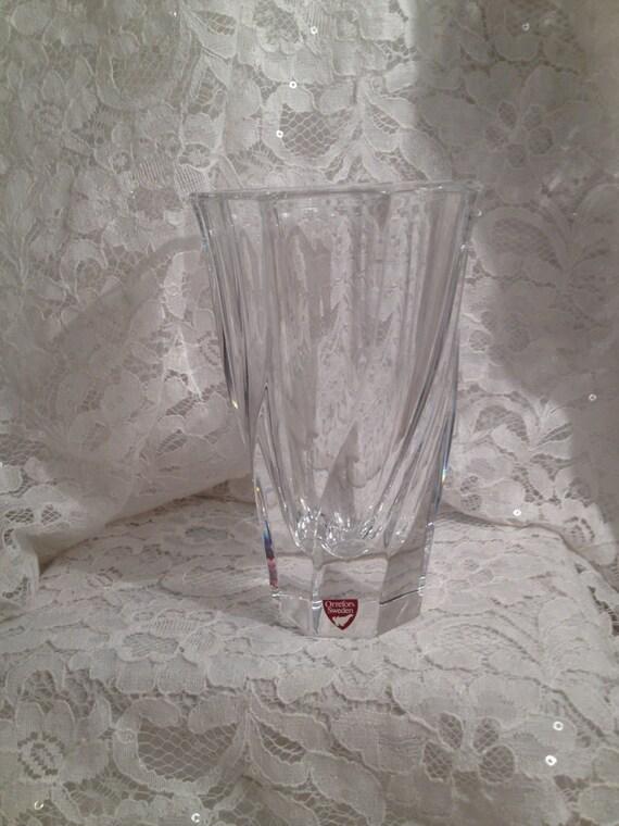 Vintage Orrefors Sweden Crystal Vase In Residence Pattern
