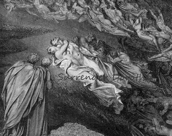 Paolo Francesca Souls Speak To Dante Inferno Canto 5 Engraving Gustave Dore' Hell Black & White