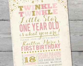 Twinkle Twinkle Little Star Invitation, Twinkle Twinkle Little Star Birthday Invitation, PRINTABLE Little Star First Birthday,  ID: BD125901