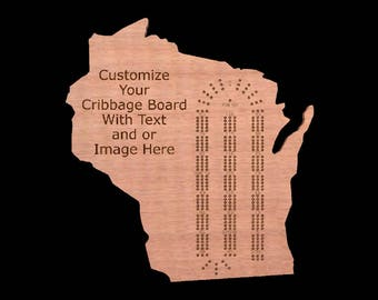 US State Shaped Custom Personalized Cribbage Board