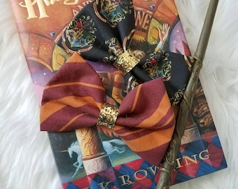 Hogwarts Back To School // Sorting Hat Set // Harry Potter Glitter Fabric Hair Bow for Adults, Kids, Cosplay