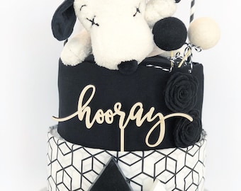 Made to Order - Black and white KAWS Snoopy Diaper Cake Baby Shower Gift