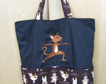 Stretching Yoga Cat Eco Friendly Tote Bag, Shopping Bag, Reusable Bag or Trick or Treat Bag
