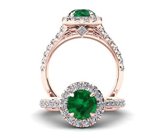 Emerald Engagement Ring 1.50 Carat Emerald And Diamond Ring In 14k or 18k Rose Gold Style Number WH1GR