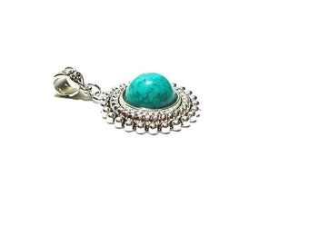 Turquoise Pendant , Round  Sterling Silver Plated  Pendant