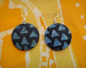 Blue Pyramid Egyptian Batik Fabric Earrings African Wax Print Tie Dye Hippie Boho