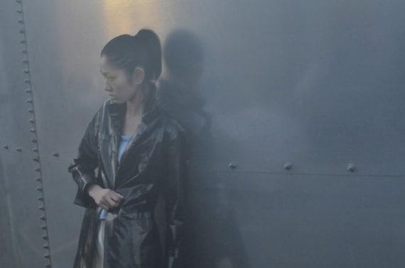 PAULE KA vinyl black rain coat