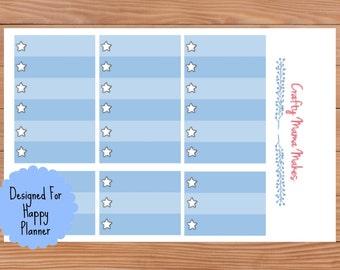 Blue Star Check List Boxes - Planner Stickers - Sticker - Happy Planner - Erin Condren - Planner