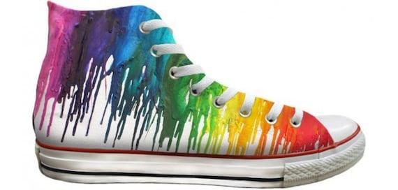 Custom Converse Rainbow Crayon Drip Pride Custom LGTBQ High Top w/ Swarovski Crystal Rhinestone Chuck Taylor All Star Sneaker Shoe