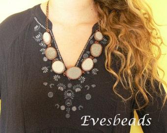 Copper necklace, Sea pebble necklace, Grey necklace, Big necklace, Wire wrap necklace, Stone necklace, Bezel necklace, Cabochon necklace