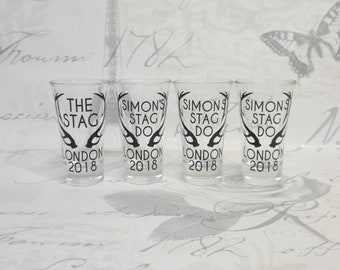 Stags Antlers Stag Do Personalised Shot Glasses  - Gift Boxed - Stag Party Stag Night Stag Weekend Stag Do Bachelor Party Party Shots Drinks