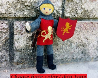 Knight Doll -Waldorf Knight - Castle - Bendy Doll - Red Tunic